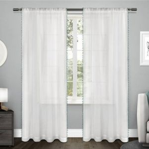 Accents - 4 Piece Sheer Curtain Panels with Pom-Poms